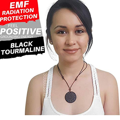 Tourmaline Crystal Pendant - EMF RADIATION PROTECTION Shield Pendant Necklace for Cell Phone, Home, Electronics - Negative Ions + Anti EMF Technology - Made of Black Tourmaline to Block Device Radiation - Scalar Negative Ions