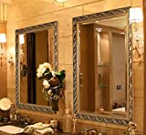 Wall Mounted Vanity Hans&Alice 32x24 Large Rectangular Vintage Bathroom Mirror, Luxurious Baroque Wooden Frame Wall-Mounted Vanity Mirror, Gold