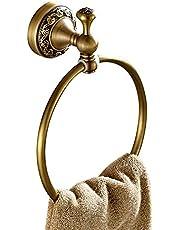 CASEWIND Wieszak na ręczniki mosiądz antyczny, okrągły wieszak na ręczniki w stylu vintage, z wierceniem, montaż na ścianie, prysznic