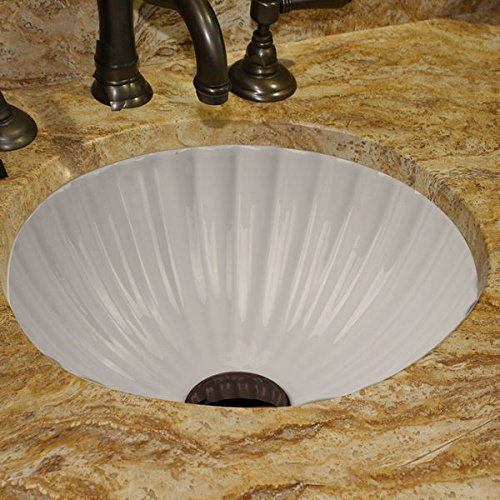Highpoint Collection 12-inch Round White Bathroom Vanity Undermount Sink with Scalloped - Highpoint Shopping