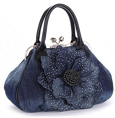 KAXIDY Ladies Girls Womens Denim Handbag Jean Bag Denim Shoulder Bag Shopper Satchel Messenger ...