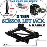 15 Inch 2 Ton Scissor Lift Jacks with Handle Floor Wind Up Jack for Toyota Chevy Silverado Honda Civic Accord Ford Solid Steel US Stock