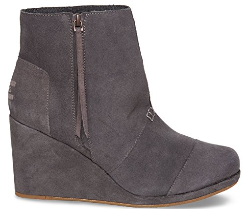 TOMS Women's Desert Wedge High Dark Grey Suede Boot 12 B (M)]()
