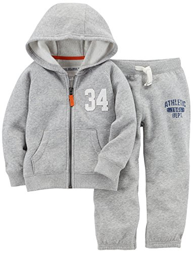 Fleece Pants Hoodie (Carter's Baby Boys' Fleece Hoody and Pant Set, Grey, 9 Months)
