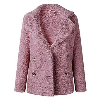 OopStyle Lady Faux Fur Shearling Sherpa Fleece Jacket Blouse Outwear Coat Pink