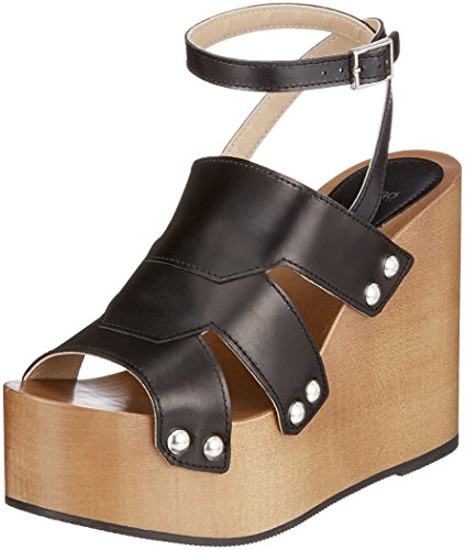 HUGO 001 Black Wedge Uptown Strap Black s Ankle Women's Sandals SxrqpSB