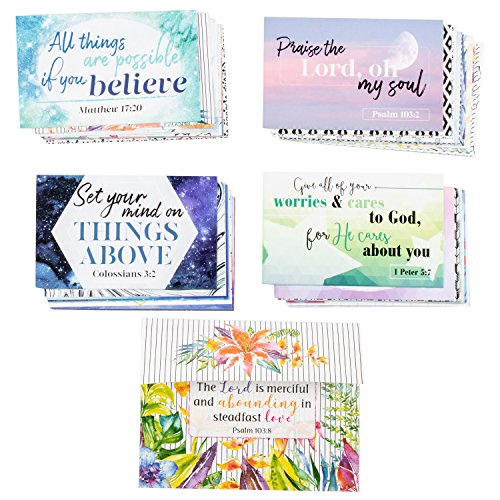 (Christian Scripture Note Cards - 40 Designs, Bible Verse Quotes, Religious Message Cards for Daily Christian Inspiration, Comes with One Additional Card Holder, 3.3 x 2.1 Inches)