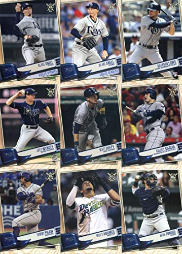 2019 Topps Big League Baseball Tampa Bay Rays Team Set of 13 Cards: Tyler Glasnow(#21), Austin Meadows(#23), Blake Snell(#40), Kevin Kiermaier(#41), Mike Zunino(#85), Willy Adames(#147), Tommy Pham(#203), Avisail Garcia(#221), Matt Duffy(#257), Joey Wendle(#309), Brandon Lowe(#328), Blake Snell(#379), Blake Snell(#382)