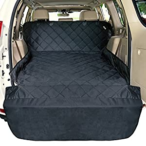 F-color SUV Cargo Liner for Dogs Waterproof Pet Cargo Cover Dog Seat Cover Mat for SUVs Sedans Vans with Bumper Flap Protector, Non-Slip, Large Size Universal Fit, Black 34