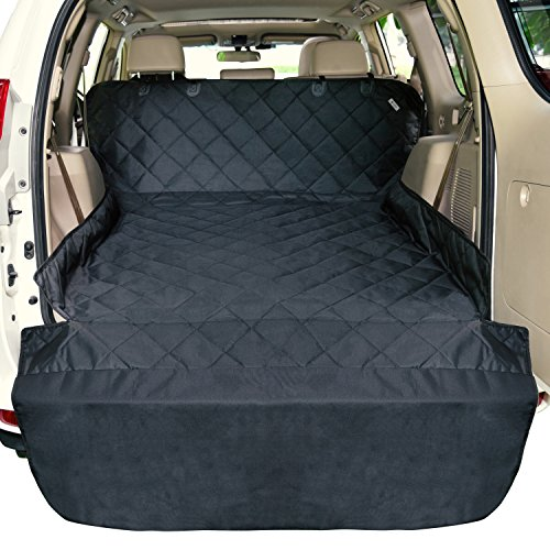 - F-color SUV Cargo Liner for Dogs Waterproof Pet Cargo Cover Dog Seat Cover Mat for SUVs Sedans Vans with Bumper Flap Protector, Non-Slip, Large Size Universal Fit, Black