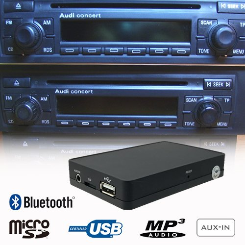 Stereo Bluetooth Handsfree A2DP USB SD AUX MP3 WMA CD Changer Adapter Interface Car Kit AUDI A2 A3 A4 A6 A8 Allroad TT Chorus Concert Symphony Navigation Plus