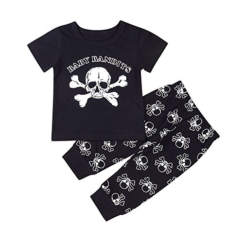 Mikrdoo Newborn Toddler Kids Baby Boys Clothes Set Skull T-Shirt Tops + Pants 2pcs Outfits (6-12 Months, A)