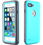 iPhone 8 Plus 7 Plus Waterproof Case - AICase Armor Defender IP-68 Heavy Duty Full Body Skin Protective Cover Case with Hand Strap for Apple iPhone 7 Plus iPhone 8 Plus(Mint Blue)