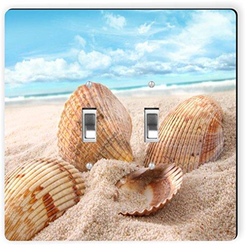 Rikki Knight 1064 Double Toggle Seashells In Sand on Beach Design Light Switch Plate by Rikki Knight