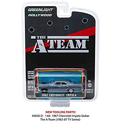 New DIECAST Toys CAR Greenlight 1:64 Hollywood Series 23 - The A-Team - 1967 Chevrolet Impala Sedan (Blue) 44830-D: Toys & Games