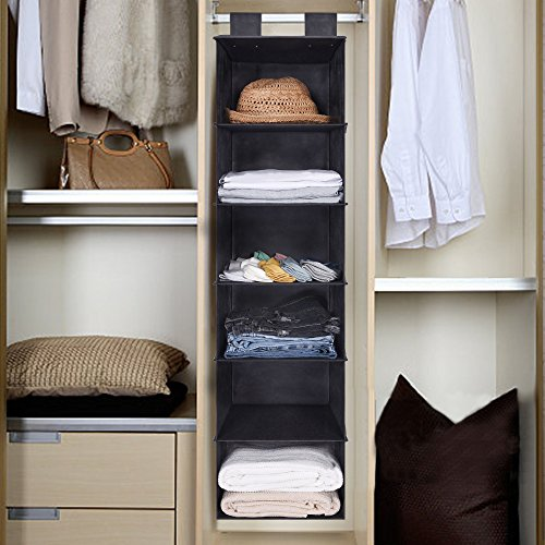 GRANNY SAYS Dorm Closet Organizers,Fabric Hanging Closet Organizer,Storage for Jeans, Sweaters, Accessories, Gray,6 Shelves, 12.0