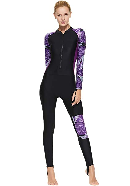 75cb9d6330 Akaeys Women's Full Body Swimsuit Rash Guard One Piece Long Sleeve Long Leg  Swimwear with UV Sun Protection: Amazon.ca: Clothing & Accessories