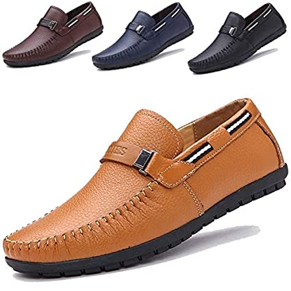 ecf26c3abaaee Image Unavailable. Image not available for. Color: moahhally 2019 Big Size  38~45 Genuine Leather Men Shoes Soft Moccasins ...