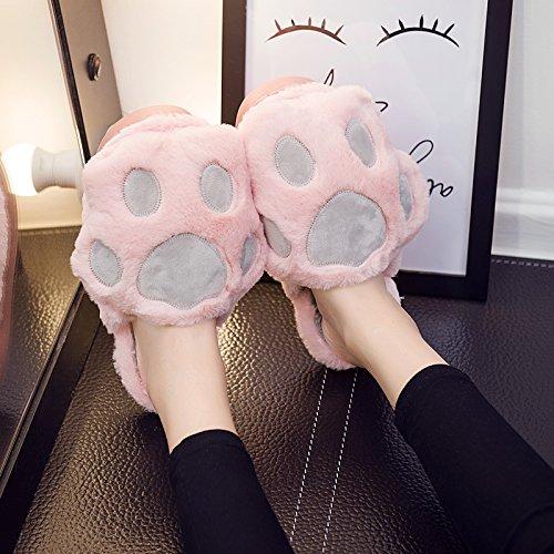 Fankou carino pantofole di cotone femmina cartoon inverno soggiorno anti-slittamento stereo spessa cat claw pantofole di cotone ,36-37,A- Grigio Chiaro