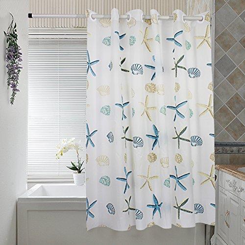 Beach Shower Curtain Hookless Peva Shower Curtain Liner Mildew