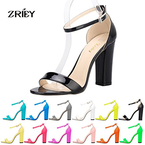 Women's Strappy Chunky High Heel Ankle Strap Sandals Open Toe Dress Sandal For Wedding Birthday Party Evening Office Shoes