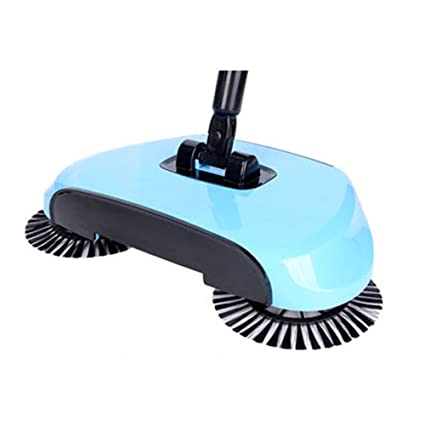 Teckcool Sweeping Machine without Electricity Automatic Hand Push Sweeper Broom Household Cleaning light blue