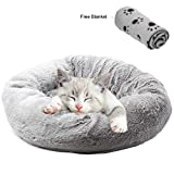 Yaayan Dog Cuddler Bed with Paw Dog Blanket - Soft Plush Round Pet Bed for Pug Dog Puppies and Kitten Cats Collapsible Anti-Dust Anti-Slip