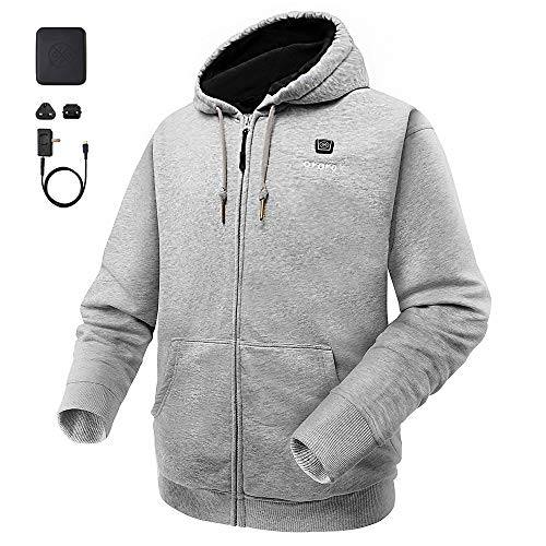 (ororo Heated Hoodie with Battery Pack (X-Large,Light Gray))