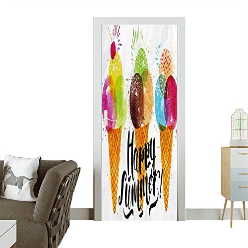 Door Sticker Wall Decals Cute Print of Ice Cream Cones and Fruit Milk Dessert for Kids Sequal Easy to Peel and StickW36 x H79 INCH]()