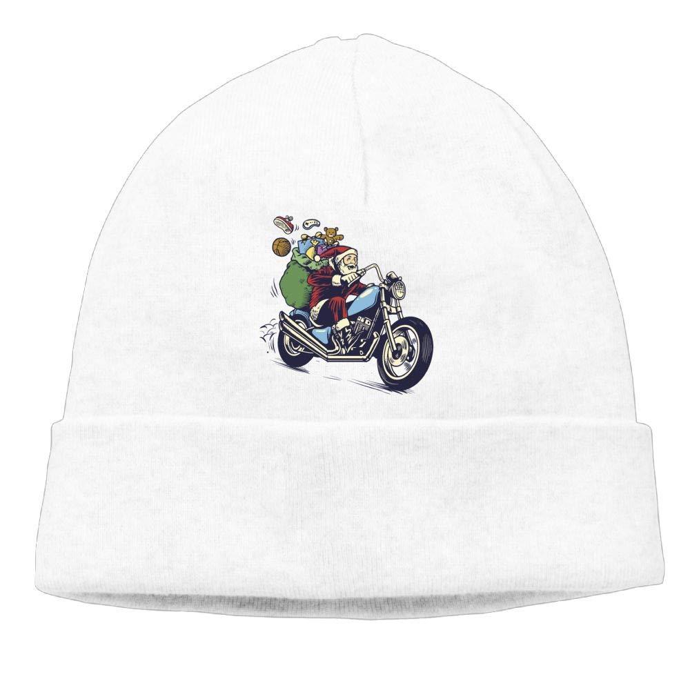 Oopp Jfhg Santa Riding A Motorcycle Beanies Knit Hat Skull Caps Men White
