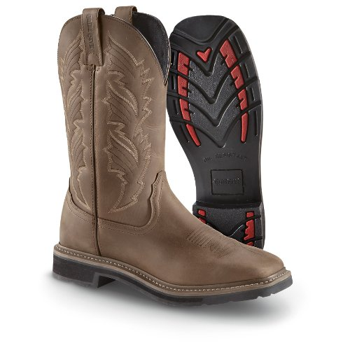 Guide Gear Men's Square Toe Pull-On Western Boots, Brown, 11 2E