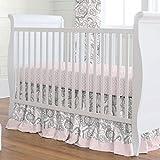 Carousel Designs Pink Flower Garden Crib Skirt Gathered 20-Inch Length