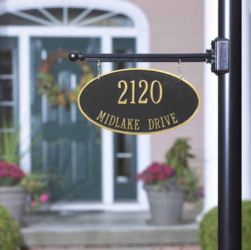 2-Sided Hanging Oval Aluminum Address Plaque with Bar (2 Lines)
