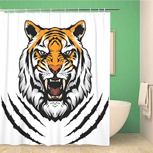 (Awowee Bathroom Shower Curtain Face Tiger Head Mascot Monster Bengal Claw Paw Cat Polyester Fabric 66x72 inches Waterproof Bath Curtain Set with Hooks)