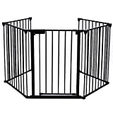 Cheap Upgraded Fireplace Safety Fence Baby Gate/Fence BBQ Pet Metal Fire Gate Baby Play Yard with Door 5 Panels Safety Gate for Pet/Toddler/Dog/Cat US Stock