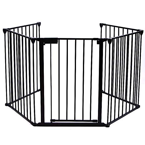 Upgraded Fireplace Safety Fence Baby Gate/Fence BBQ Pet Metal Fire Gate Baby Play Yard with Door 5 Panels Safety Gate for Pet/Toddler/Dog/Cat US Stock (Stock Fireplace Door)