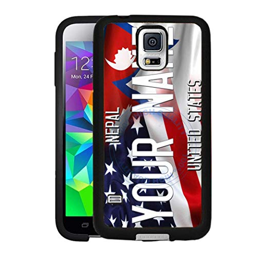 BRGiftShop Personalize Your Own Mixed USA and Nepal Flag Rubber Phone Case For Samsung Galaxy S5