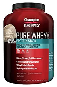 Champion Performance, Pure Whey Plus, Vanilla Ice Cream flavor, 4.8 lbs
