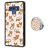 Hynina Phone Case and Phone Ring Buckle Compatible for Samsung Galaxy Note 9 - Cute Corgi Puppies