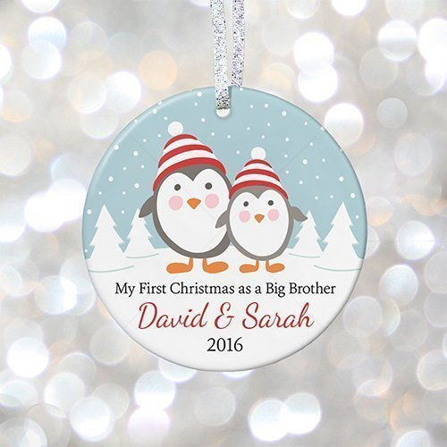 Personalized Ornament Brother Big (First Christmas as Big Brother or Big Sister, Personalized Brother and Sister Christmas Gift 2018, Gift for New Baby - 3