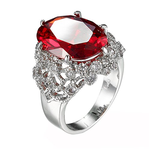 Created Garnet Stainless Steel Ring - BOLY Stainless Steel Oval Cut Garnet Rhinstone Zircon Ruby Wedding Engagement Promise Ring Red Size 6