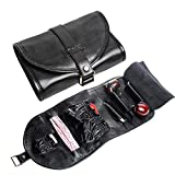 Smoking Pipe Pouch black Genuine Leather tobacco Bag Organize Case Pipe Tool lighter Holder Pocket for 2 pipe-CL08 (black)