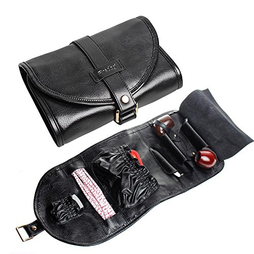 FIREDOG Pipe Tobacco Pouch, Travel Genuine Leather Somking Tobacco Pipe Bag Case for 2 Pipes, Black
