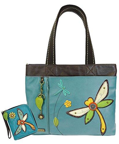 Chala Handbags Big- Everyday Tote Women Handbag with Zip Around Wallet (Dragonfly Combo)