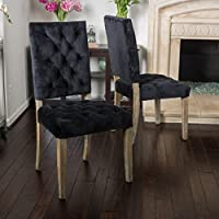 (Set of 2) Myrtle Velvet Black Dining Chair