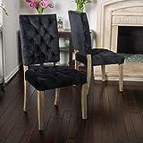 Great Deal Furniture (Set of 2) Myrtle Velvet Black Dining Chair