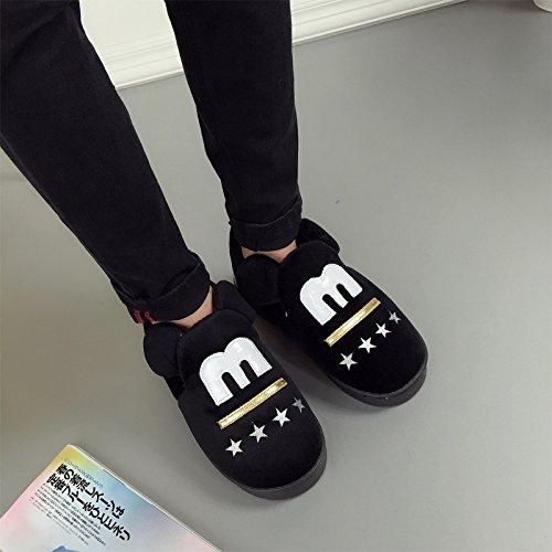 Y-Hui cotone pantofole, interni Home amanti scarpe caldo, uomini Anti Skid scarpe con fondo ispessita,Suggerimento: la dimensione è piccola,Nero