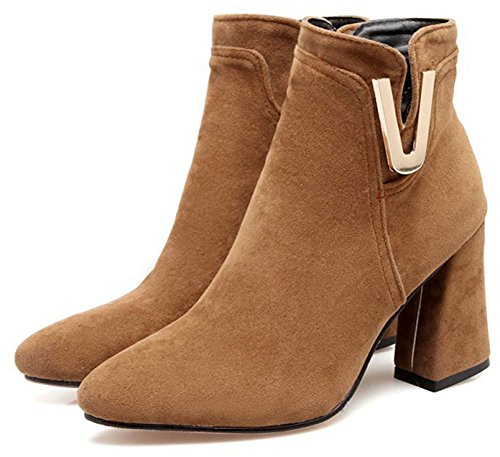 Easemax Women's Elegant Side Zipper Faux Suede Pointed Toe Chunky High Heel Ankle High Boots Yellow VxIxTF8