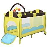 Bed & Playpen Baby Child Travel Cot Cribs Bassinet in GREEN W/ Mat and Carrying Bag With Ebook