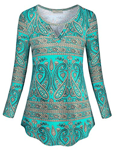 (Cestyle Fall Shirts for Women,Misses Pretty Round Neck Long Sleeve Shirttail Tunic Tops Ladies Paisley Halloween Thanksgiving Christmas Boutique Blouses Paisley Green XX-Large)